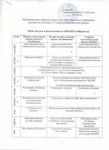 План досугов и развлечений 2018-2019 г
