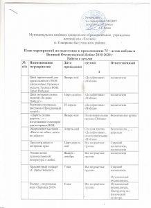 План к 75 летию Победы